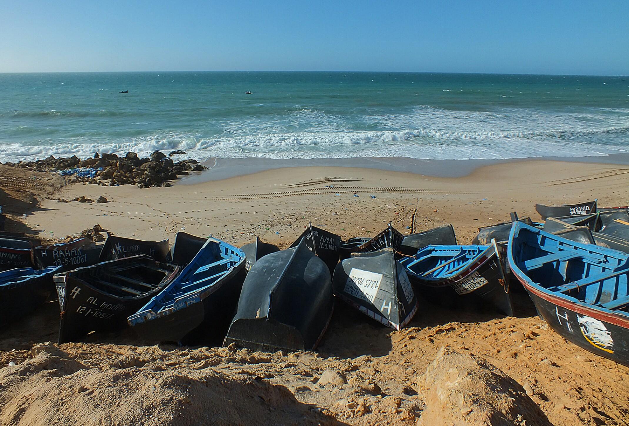Maroko.Wioska rybacka.Ocean Atlantycki