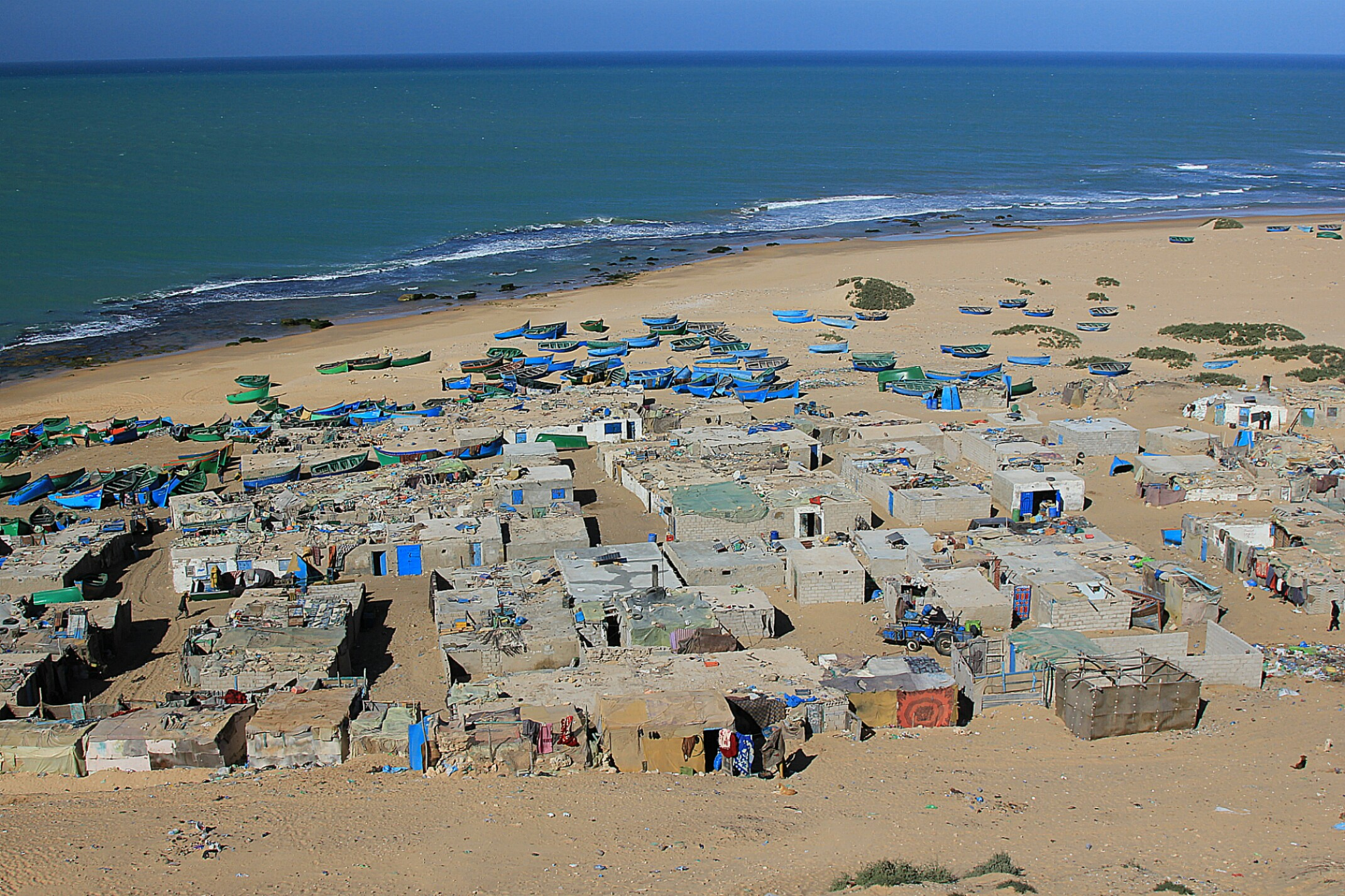 Maroko.Wioska rybacka nad Oceanem Atlantyckim