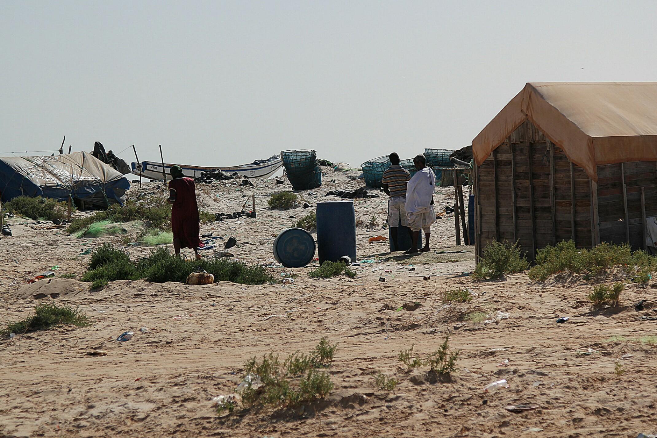 Mauretania.Wioska w Park Narodowy Banc d'Arguin