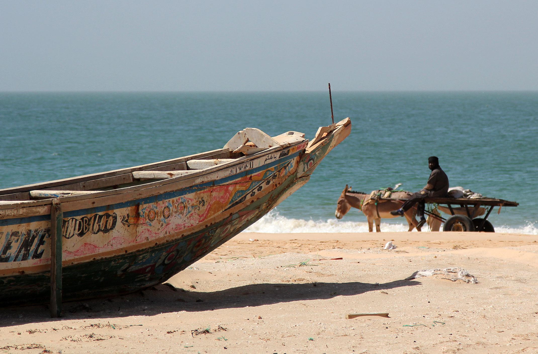 Mauretania.Kolorowa łódź nad brzegiem Oceanu Atlantyckiego i osioł ciągnący wózek.