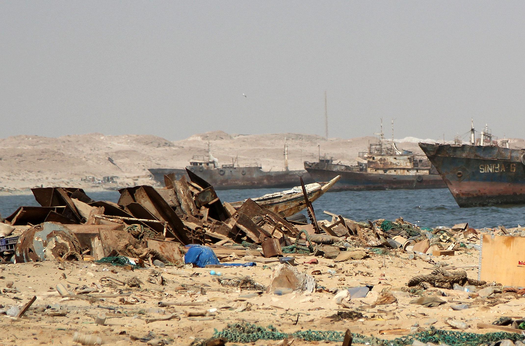 Mauretania.Zatoka wraków,zwana również cmentarzyskiem wraków.Nouadhibou