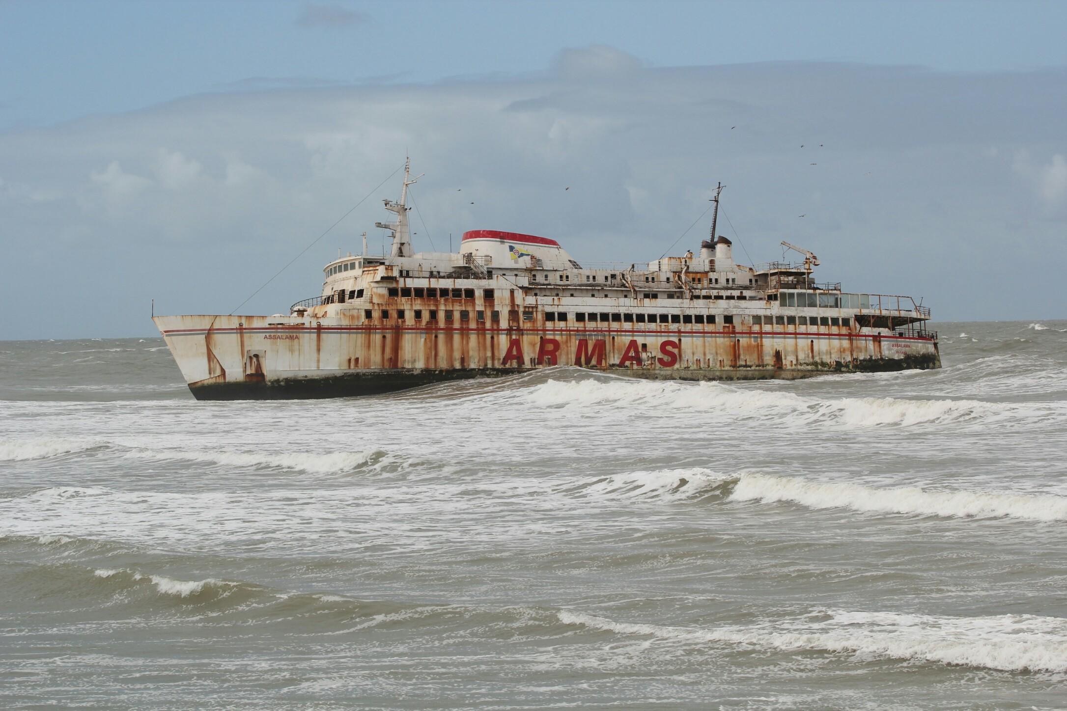 Maroko.Tarfaya.Wrak statku Assalama.