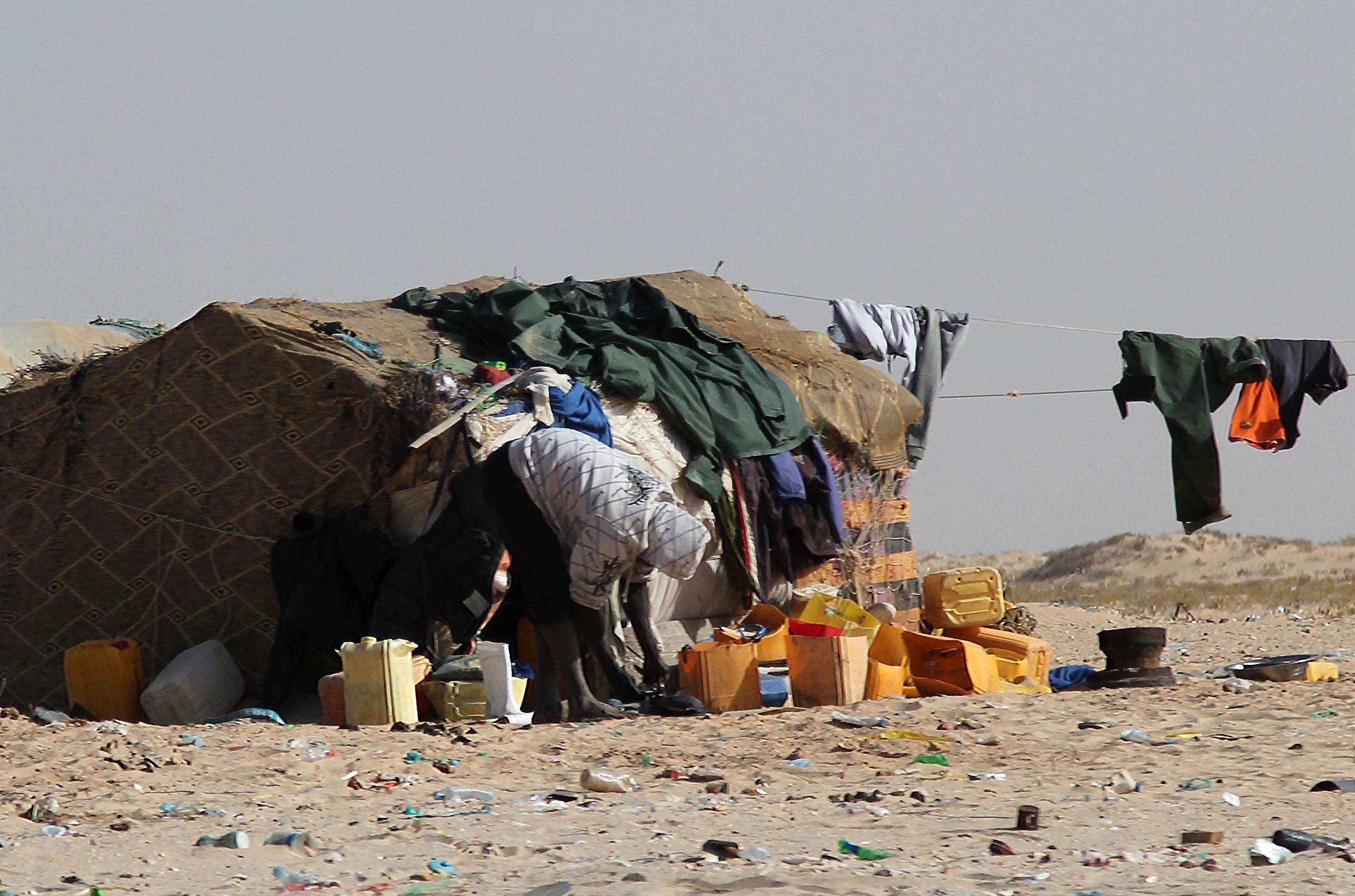 Mauretania.Wioska nad Oceanem Atlantyckim