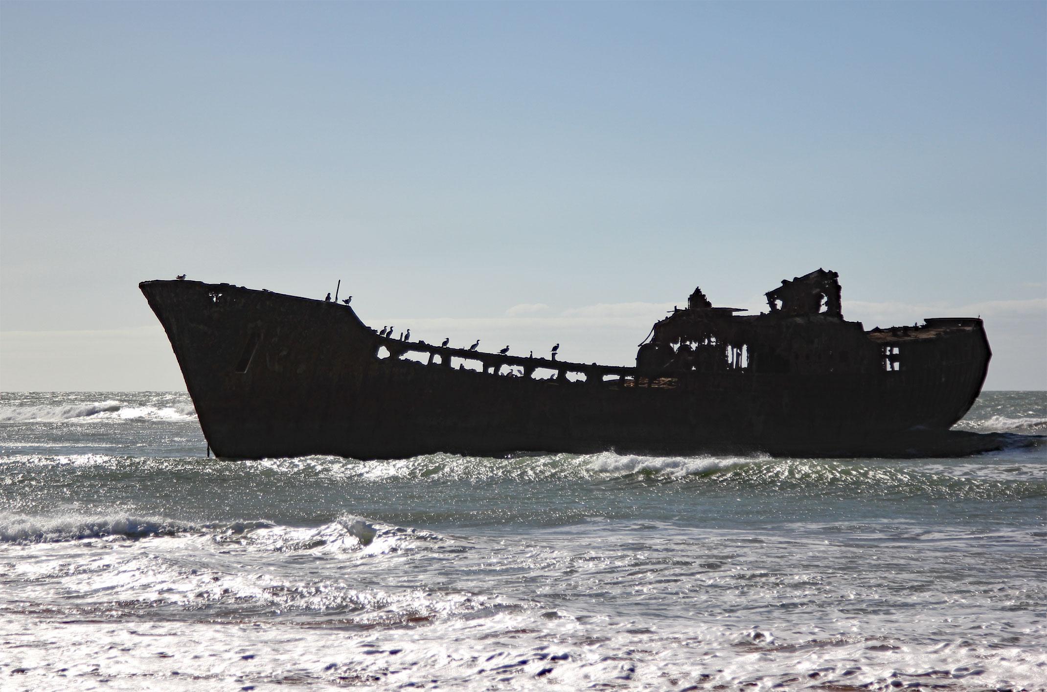 Maroko.Wrak statku.Plage Aouzioualte