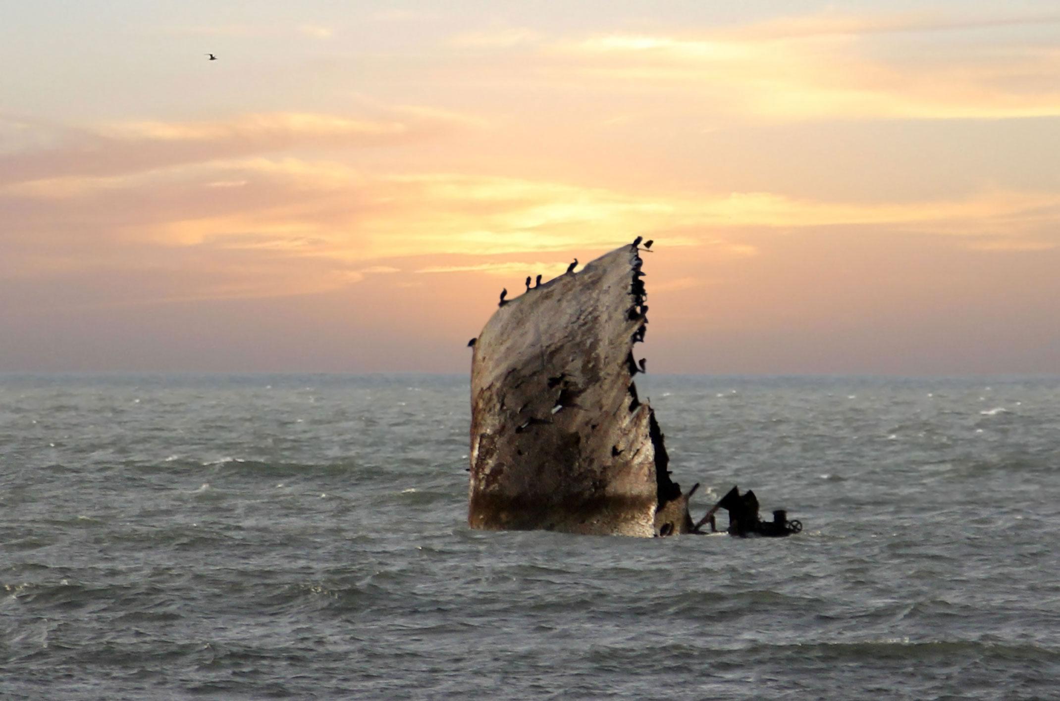 Maroko.Wrak statku
